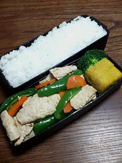 大豆肉とピーマンの生姜炒め