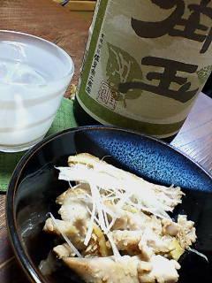 カツオのニンニク生姜炒めで一杯