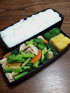 鶏肉と菜花の生姜炒め