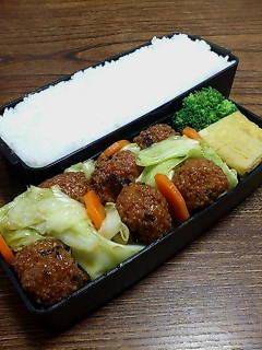 揚げ肉団子とキャベツの黒酢炒め