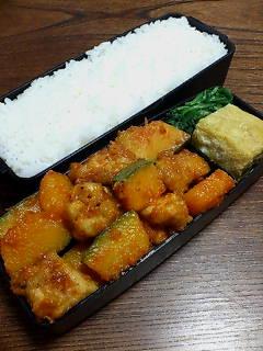 揚げ鶏とカボチャの炒め物