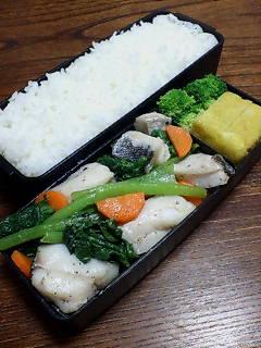 タラと小松菜のバター炒め