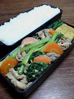 豚肉と小松菜の味噌炒め