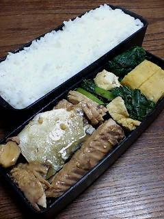 鯖の味噌煮と蕪の葉の炒め物
