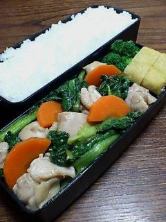 鶏肉と小松菜のポン酢炒め