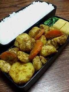 鶏肉と里芋のカレー醤油炒め