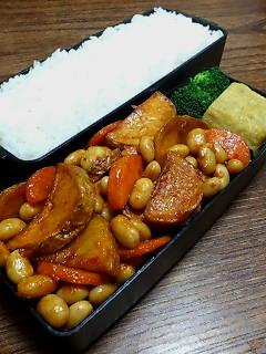 揚げジャガ芋と大豆の中華風炒め