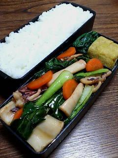 イカと小松菜のバルサミコ醤油炒