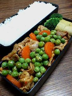 豚肉とうすい豆のケチャップ炒め