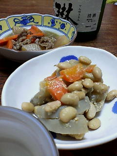 大豆と根菜の鉄火和えで一杯