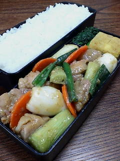 鶏肉と葉タマネギの味噌柚子胡椒炒め