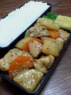 鶏肉とカブの醤油粒マスタード炒め