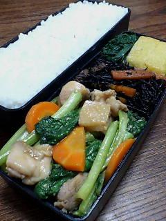 鶏肉と小松菜のバルサミコ味噌炒め