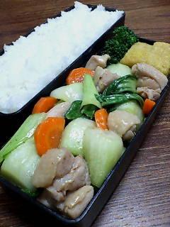 鶏肉と青梗菜の煎酒炒め