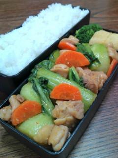 鶏肉と青梗菜の味噌炒め