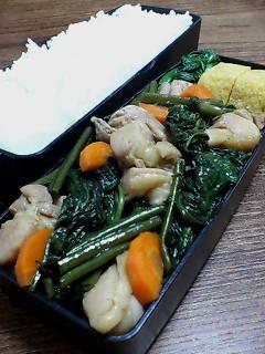 鶏肉と空芯菜のオイスター柚子胡椒炒め