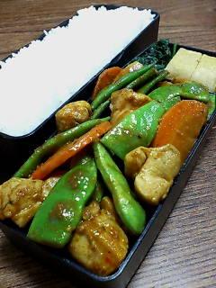 鶏肉とモロッコインゲンのカレー炒め