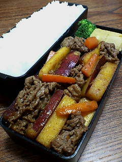 牛肉とサツマイモのピリ辛炒め