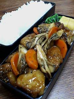 鯖と舞茸の黒酢炒め