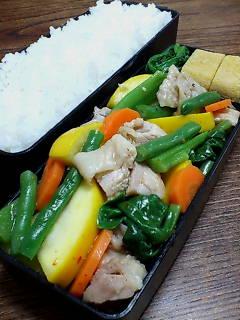 蒸し鶏と蒸し野菜の煎酒七味和え