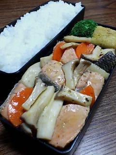 鮭とエリンギの煎酒黒酢炒め