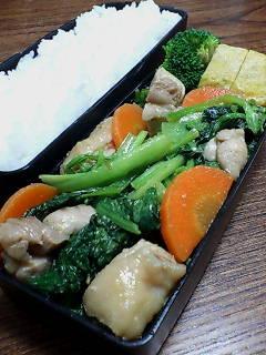 鶏肉と小松菜の味噌柚子胡椒炒め