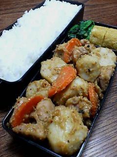 鶏肉と里芋の味噌七味炒め
