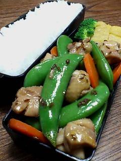 鶏肉とスナップエンドウのキャラウェイシード炒め