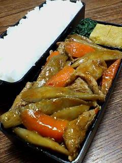 豚肉とゴボウのオイスターケチャップ炒め