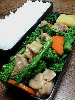 鶏肉と菜の花の醤油粒マスタード炒め