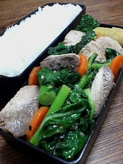 ブリとかき菜の煎酒七味炒め