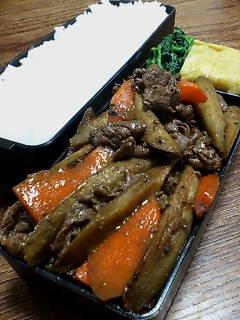 牛肉とゴボウの甜麺醤炒め