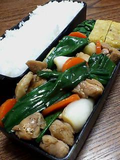 鶏肉と葉タマネギのオイスターソース炒め