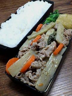 豚肉とウドの煎酒七味炒め