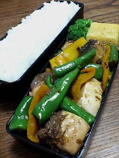 ブリとシシトウの鰹節醤油炒め