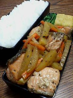 鮭とジャガイモの醤油バター炒め