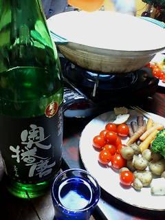 土鍋チーズホンデュと日本酒
