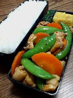 鶏肉とスナップエンドウのケチャップマスタード炒め