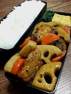 鯖とレンコンの黒酢炒め