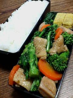 鶏肉と菜の花の柚子胡椒炒め