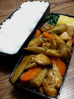 鶏肉とゴボウのケチャップ醤油炒め