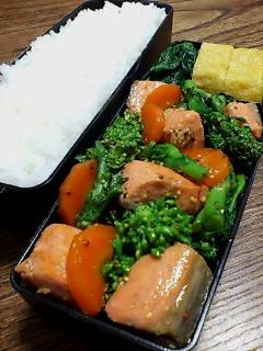 鮭と菜の花のバター醤油炒め