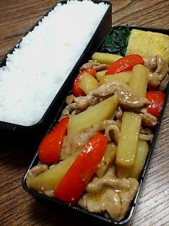 豚肉とジャガイモのオイスター味噌炒め