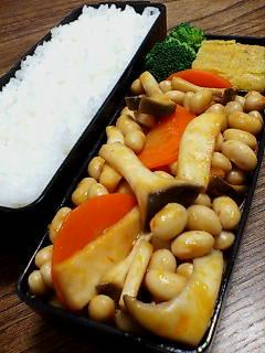 大豆とエリンギのケチャップ醤油炒め