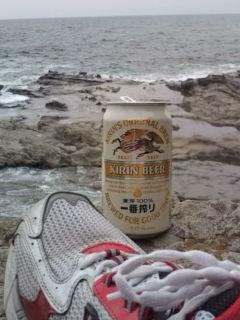 海とビールとランニングシューズ