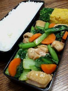 鶏肉と小松菜の醤油コチジャン炒め