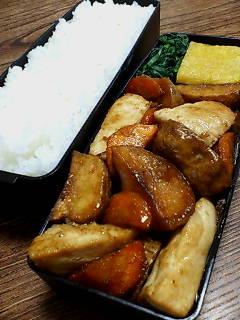 カジキと揚げジャガイモの醤油柚子胡椒炒め