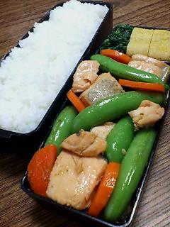 鮭とスナップエンドウの柚子胡椒炒め