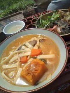 ぶどうの芽の天ぷらとほうとう