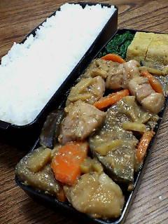鶏肉と米ナスの生姜味噌炒め